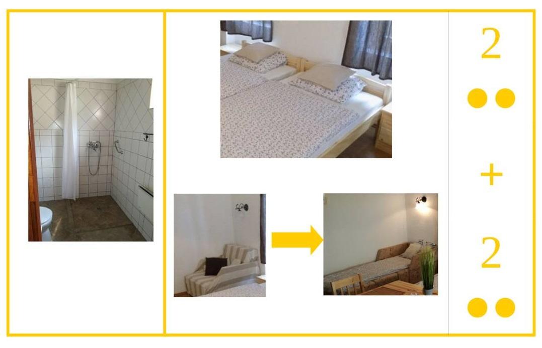 Kétszemélyes szoba plusz két pótággyal, saját fürdőszobával, a közösségi konyha használatával. Összesen max. (2+2=) 4 fő részére.