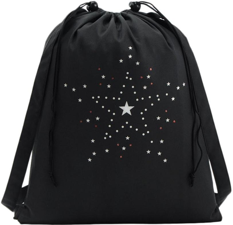 Aranyos diák-hátizsák fillérekért, fekete, nagy csillagokkal