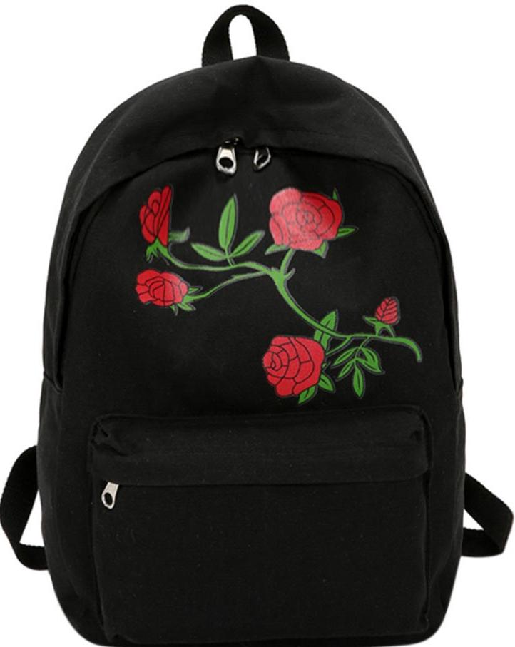 Diák-hátizsák nagyon olcsón, fekete vászon, rózsa minta